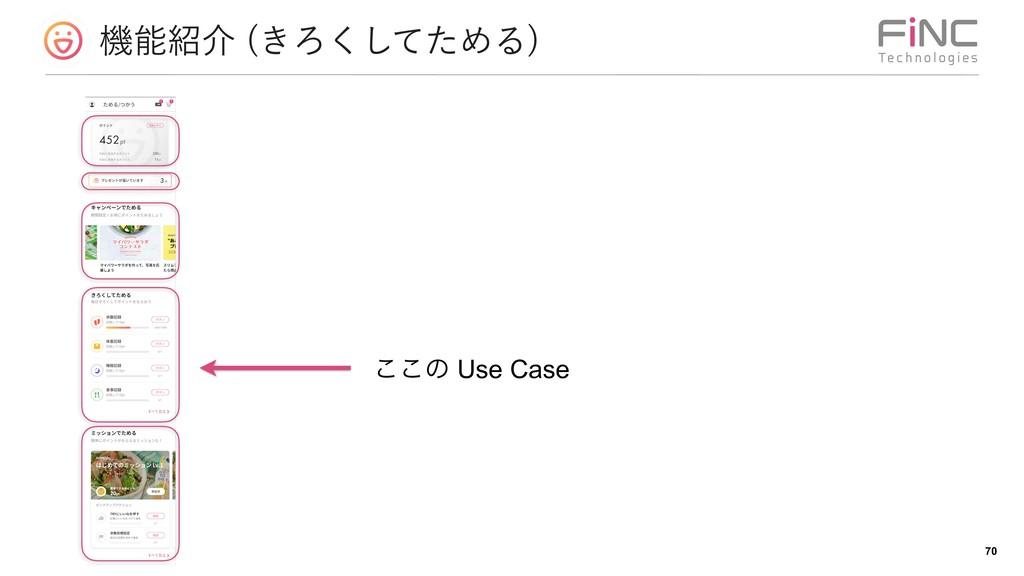 ػհ ͖Ζͯͨ͘͠ΊΔ  !70 ͜͜ͷ Use Case