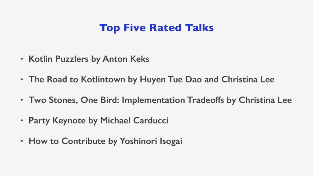 Top Five Rated Talks • Kotlin Puzzlers by Anton...