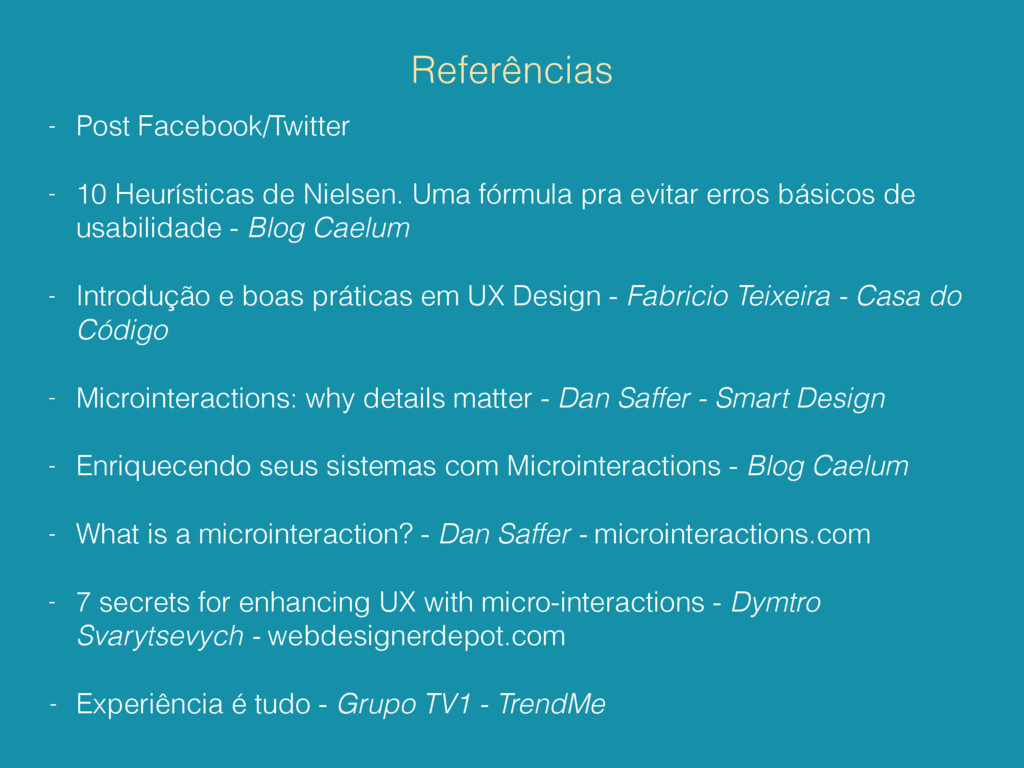 Referências - Post Facebook/Twitter - 10 Heurís...