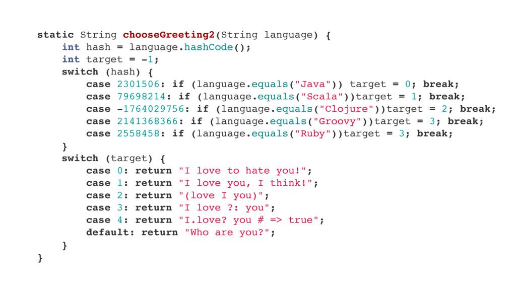static String chooseGreeting2(String language) ...