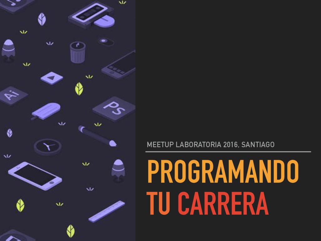 PROGRAMANDO TU CARRERA MEETUP LABORATORIA 2016,...