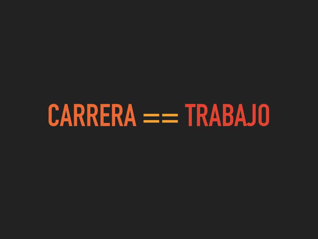 CARRERA == TRABAJO