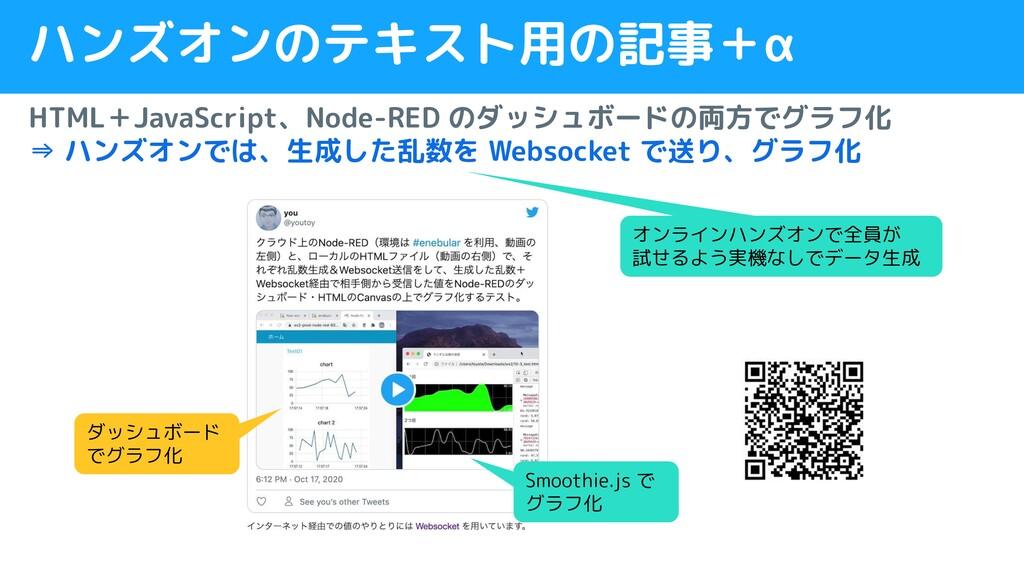 ハンズオンのテキスト用の記事+α HTML+JavaScript、Node-RED のダッシュ...