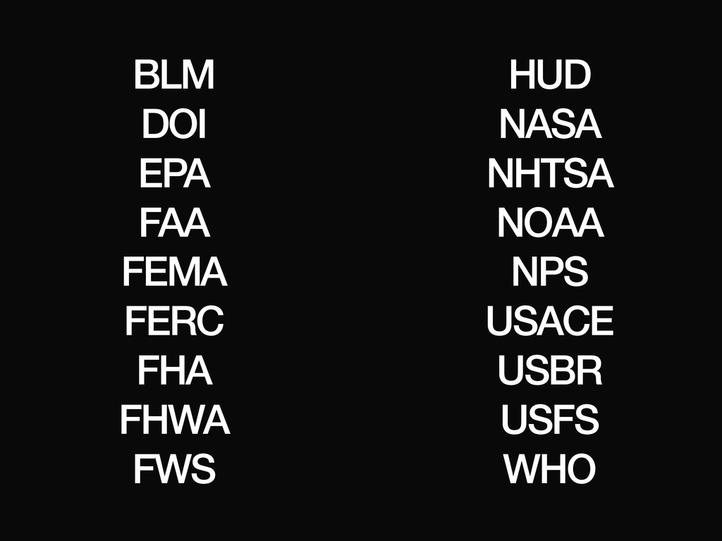 BLM DOI EPA FAA FEMA FERC FHA FHWA FWS HUD NASA...