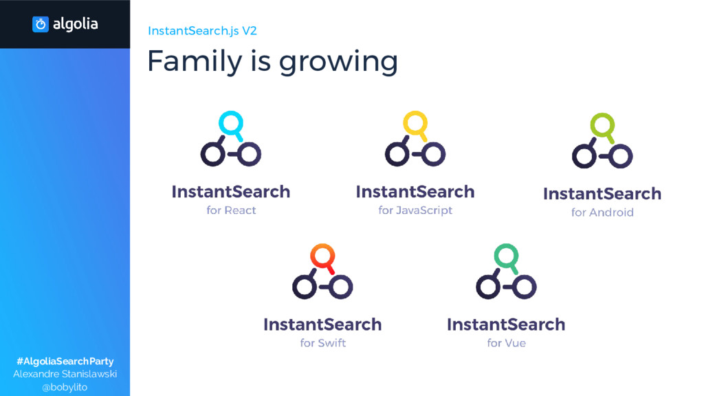 InstantSearch.js V2 Family is growing #AlgoliaS...