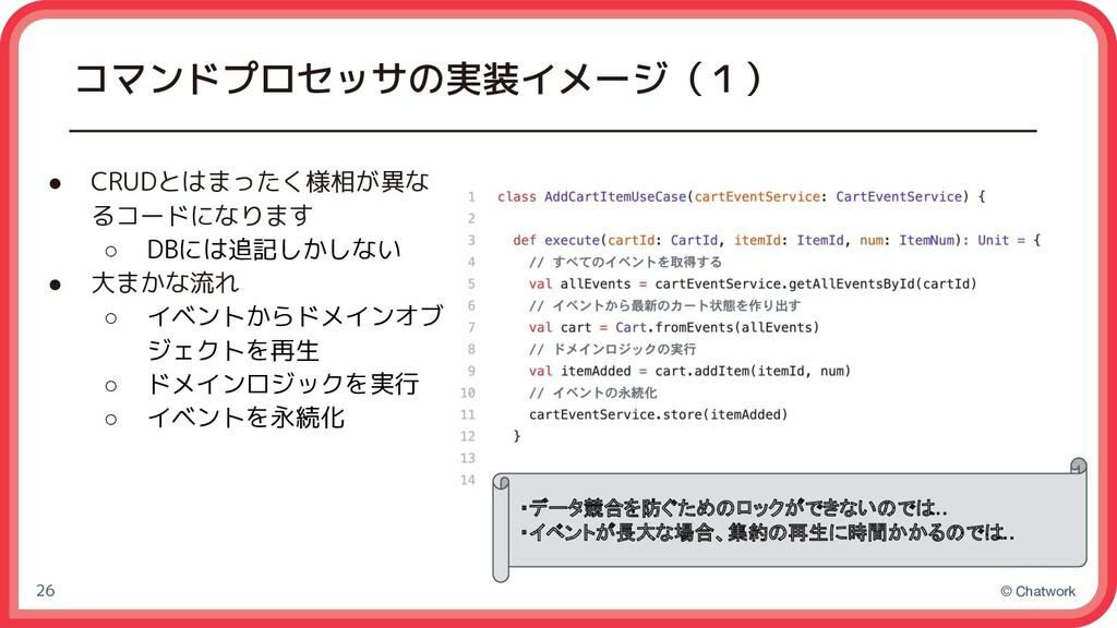 © Chatwork コマンドプロセッサの実装イメージ(1) ● CRUDとはまったく様相が異...