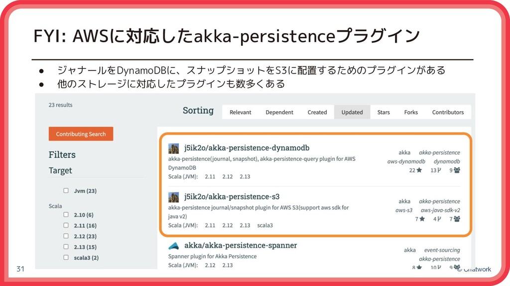 © Chatwork FYI: AWSに対応したakka-persistenceプラグイン ●...