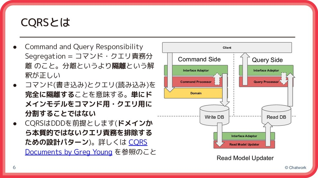© Chatwork CQRSとは ● Command and Query Responsib...