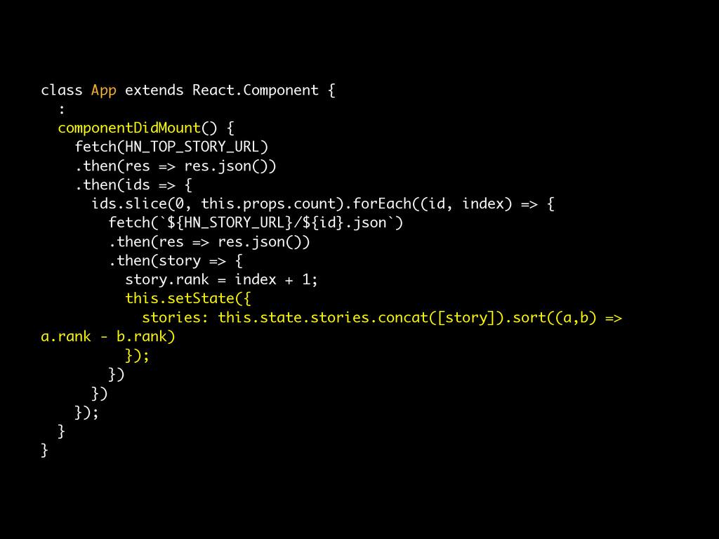 class App extends React.Component { : component...