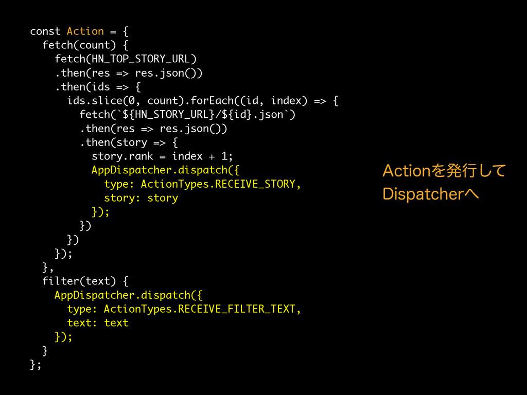 const Action = { fetch(count) { fetch(HN_TOP_ST...