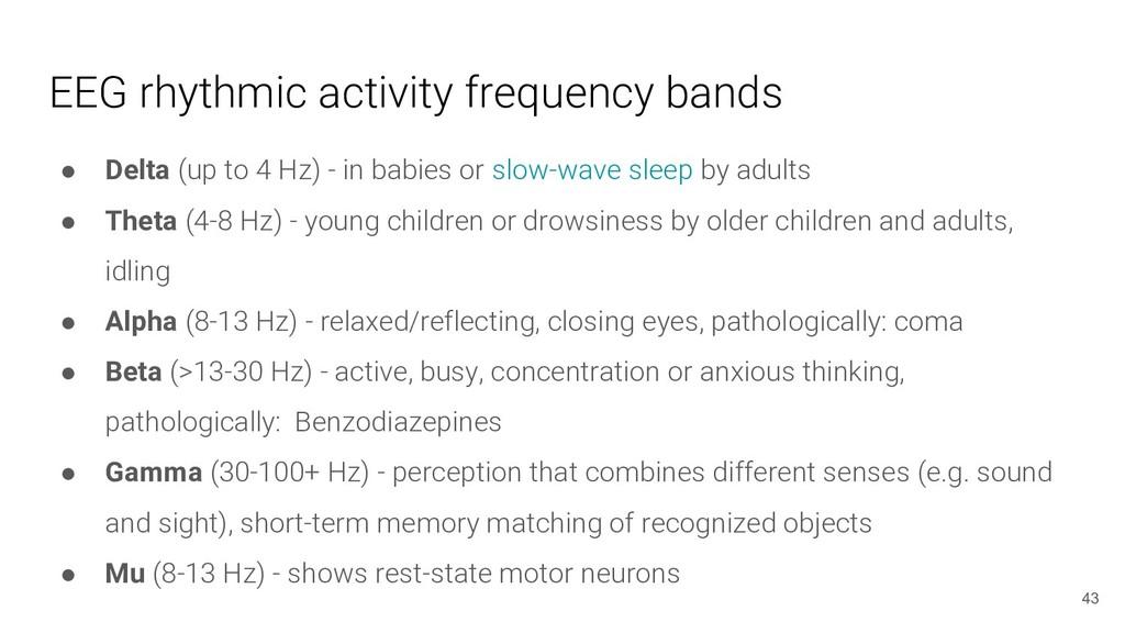 EEG rhythmic activity frequency bands ● Delta (...