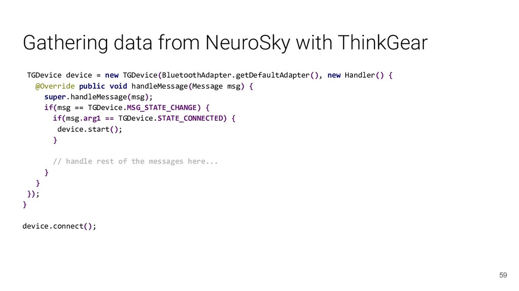 Gathering data from NeuroSky with ThinkGear TGD...