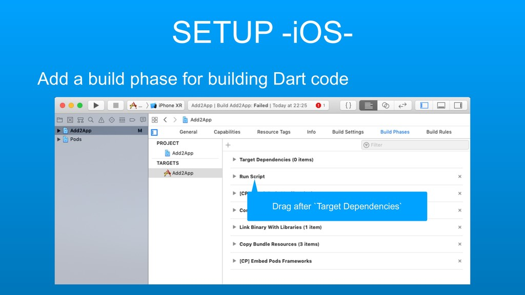 SETUP -iOS- Add a build phase for building Dart...