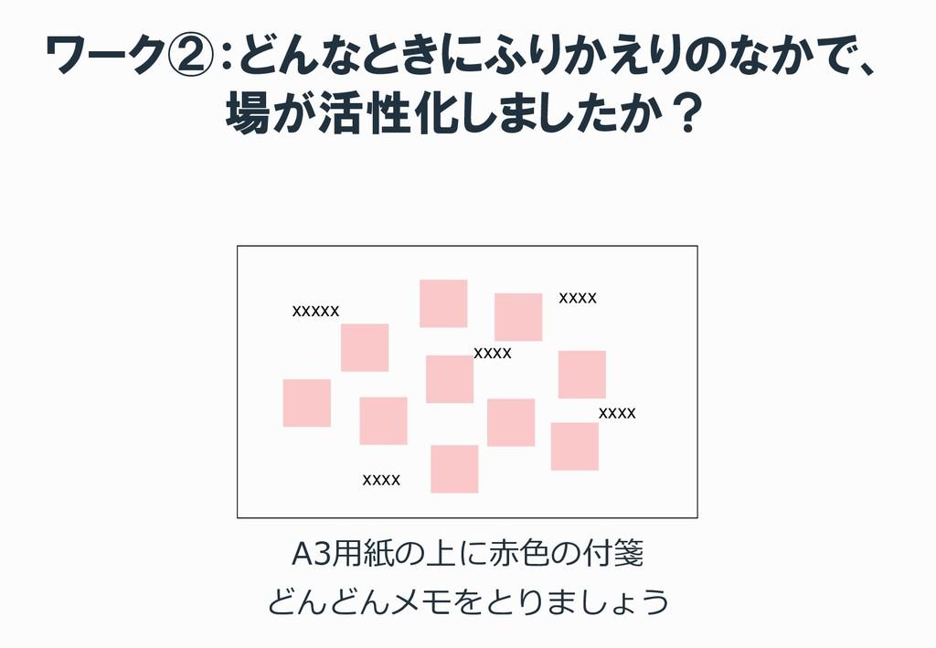 ワーク②:どんなときにふりかえりのなかで、 場が活性化しましたか? A3用紙の上に赤色の付箋 ...
