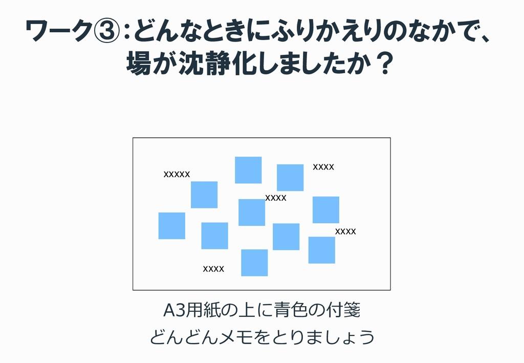 ワーク③:どんなときにふりかえりのなかで、 場が沈静化しましたか? A3用紙の上に青色の付箋 ...