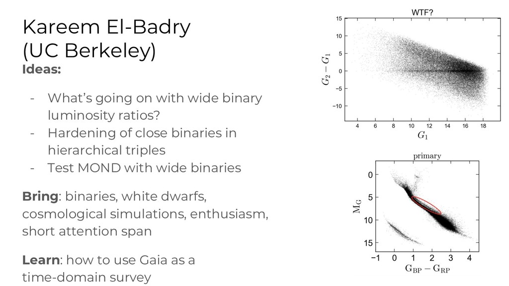 Kareem El-Badry (UC Berkeley) Ideas: - What's g...