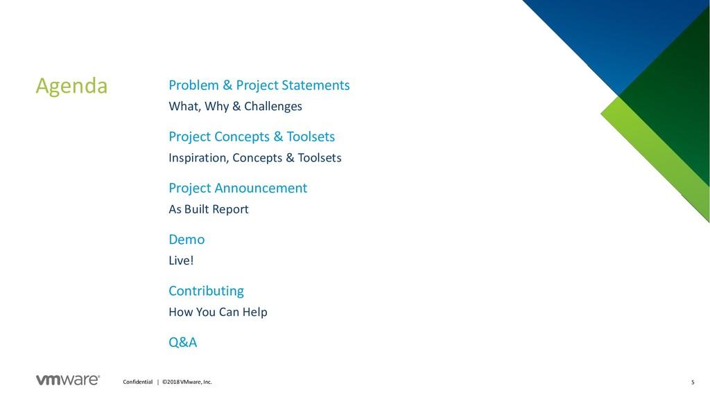Agenda 5 Confidential │ ©2018 VMware, Inc. Prob...