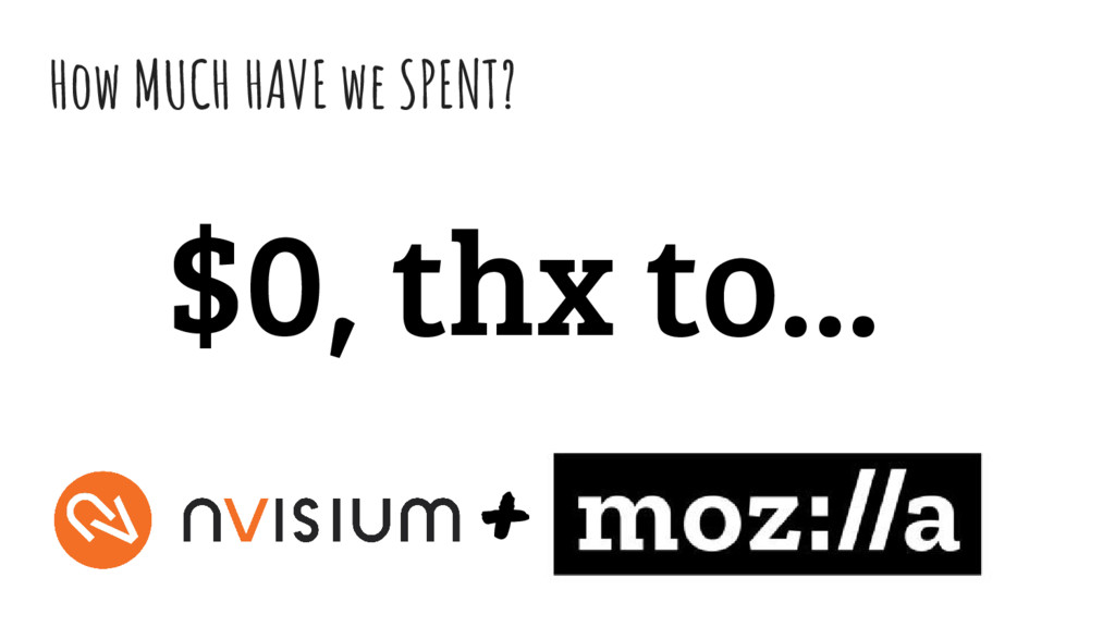 How MUCH HAVE we SPENT? $0, thx to... +