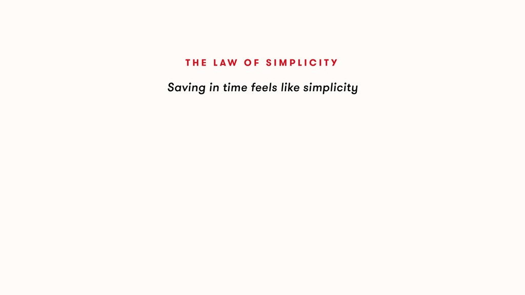 Saving in time feels like simplicity T H E L A ...
