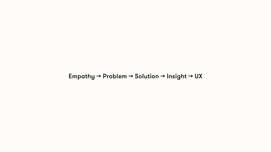 Empathy → Problem → Solution → Insight → UX