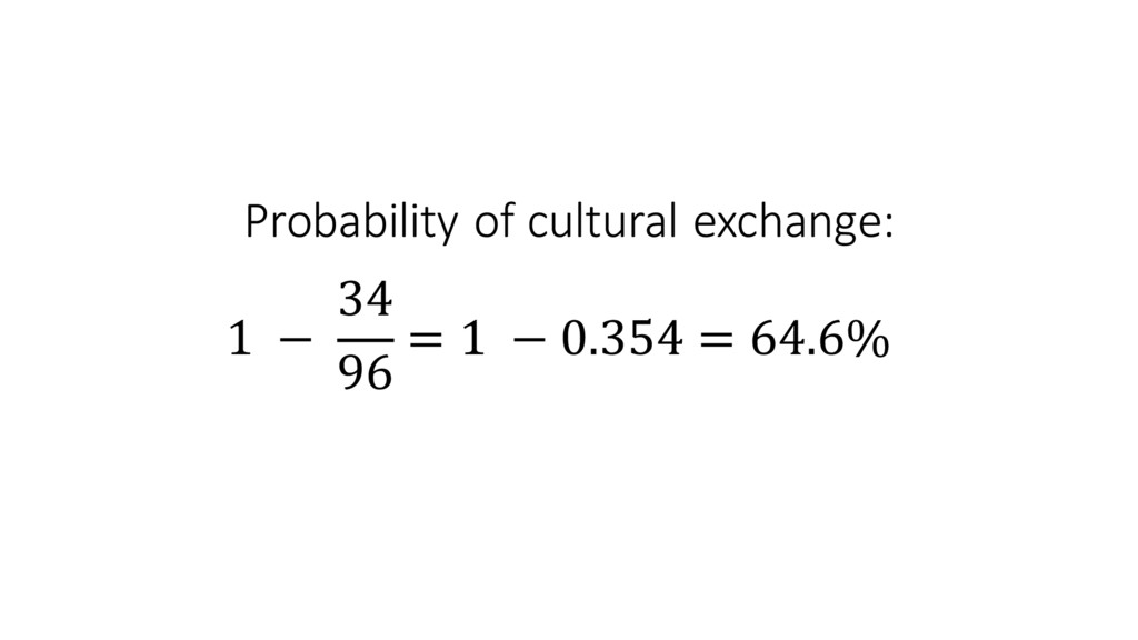 Probability of cultural exchange: 1 ...