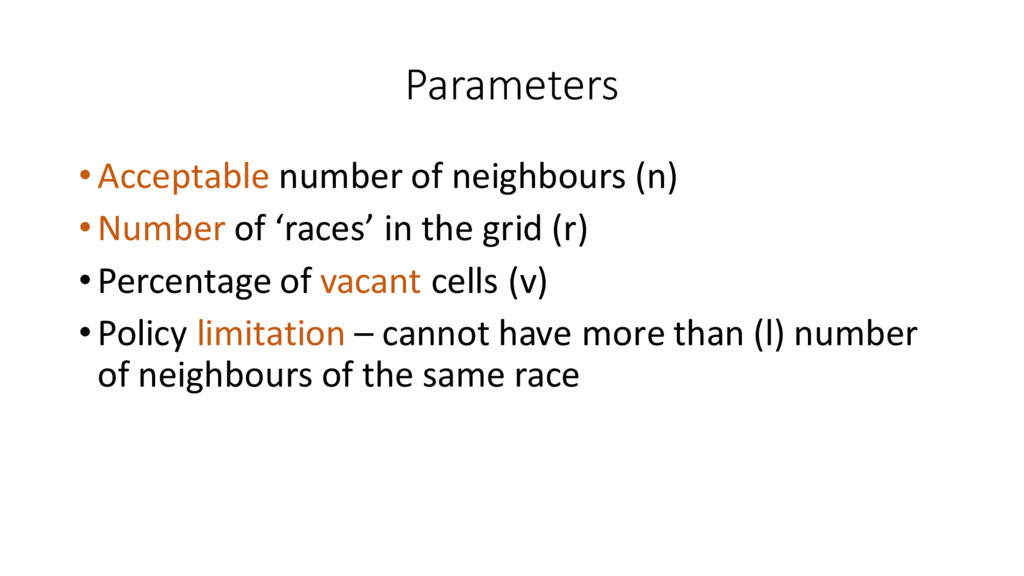 Parameters •Acceptable number of neighbou...