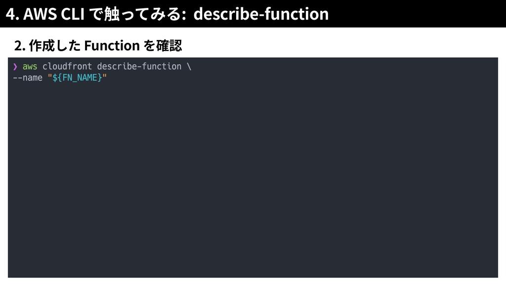 4. AWS CLI : describe-function 2. Function