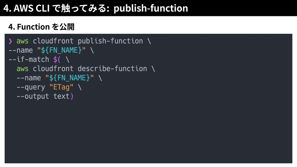 4. AWS CLI : publish-function 4. Function