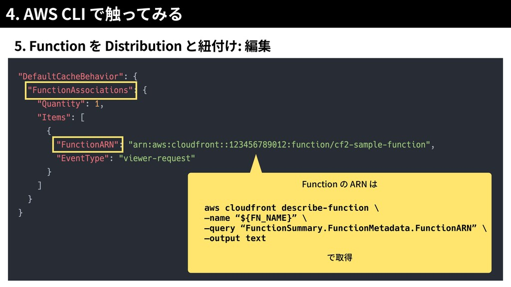 4. AWS CLI 5. Function Distribution : Function ...