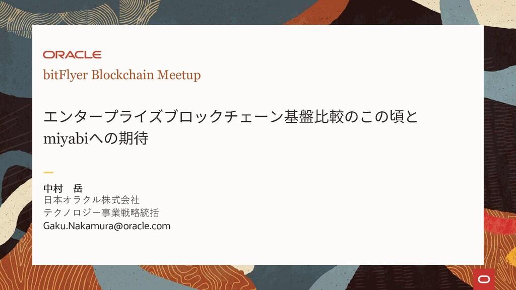 bitFlyer Blockchain Meetup miyabi 日本オラクル株式会社 テク...
