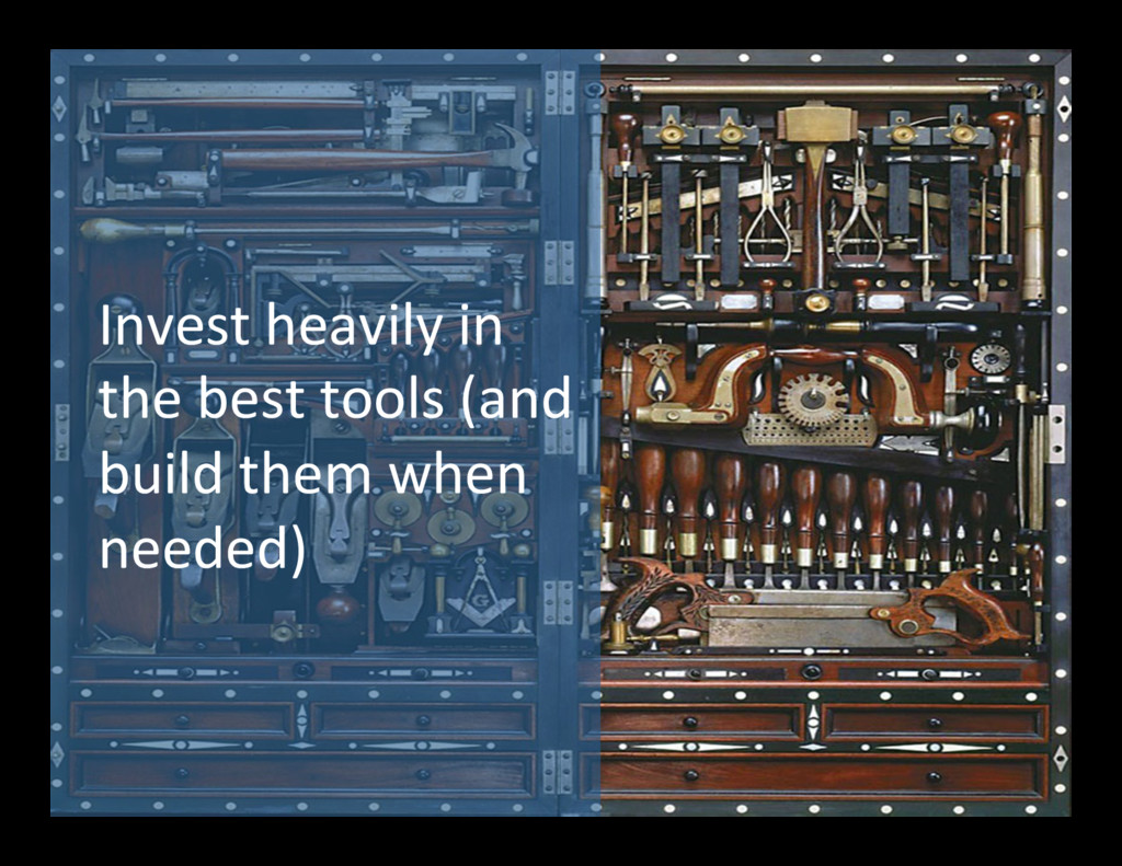 Invest heavily in  the best tool...