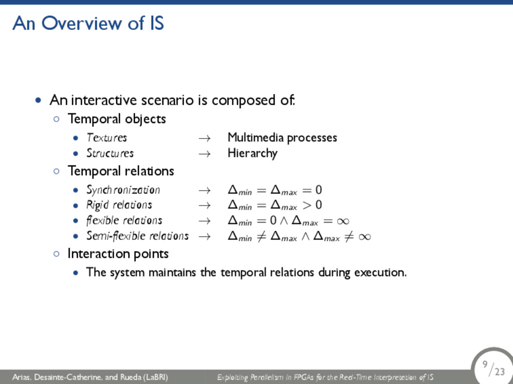 An Overview of IS • An interactive scenario is ...