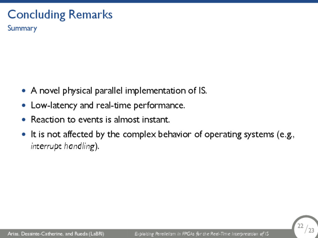 Concluding Remarks Summary • A novel physical p...
