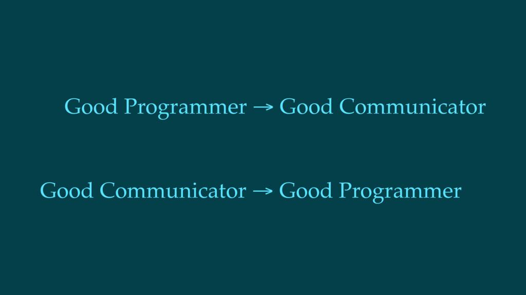 Good Programmer → Good Communicator Good Commun...