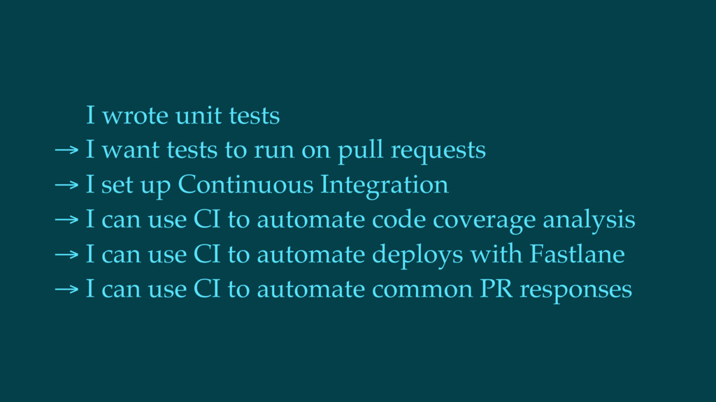 I wrote unit tests → I want tests to run on pul...