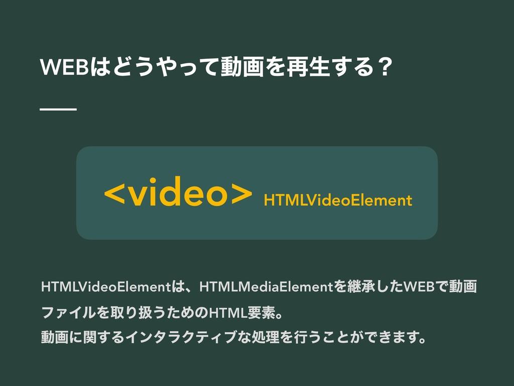 WEBͲ͏ͬͯಈըΛ࠶ੜ͢Δʁ <video> HTMLVideoElement HTML...