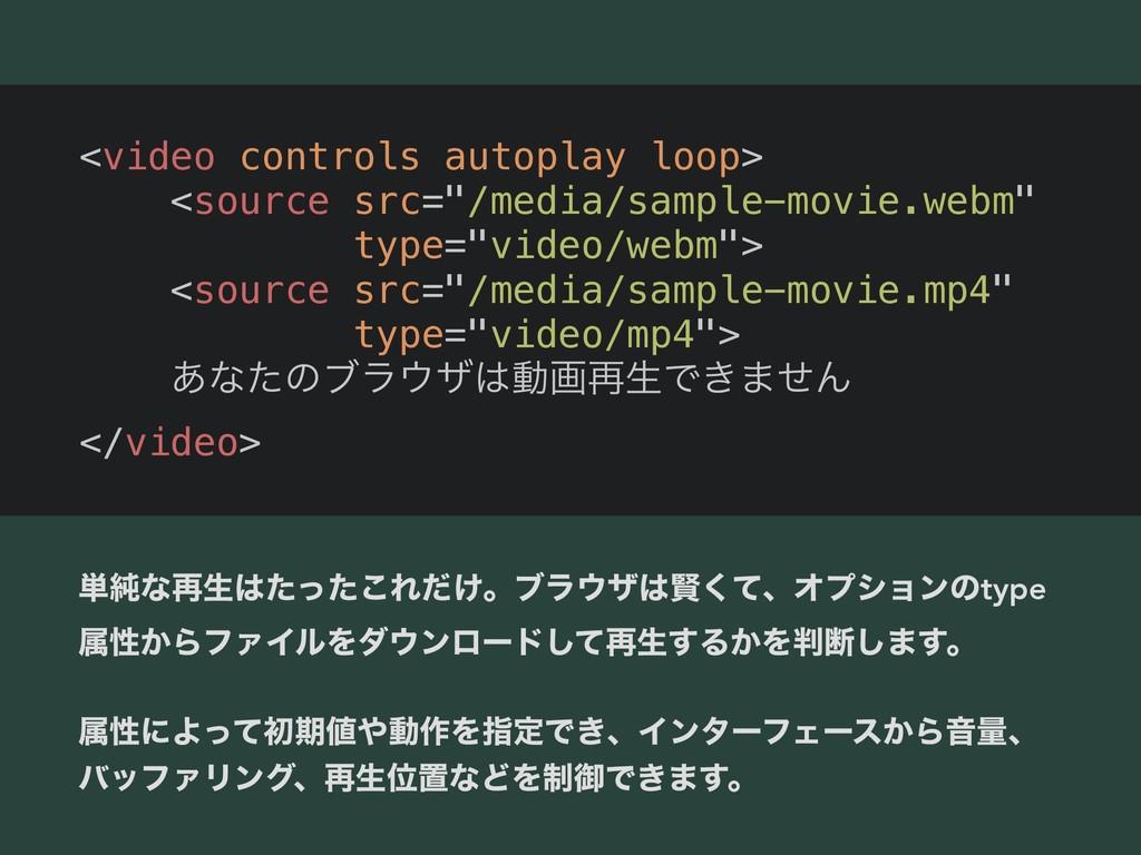 """<video controls autoplay loop> <source src=""""/me..."""