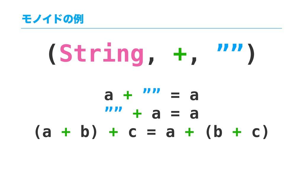 """(String, +, """""""") a + """""""" = a """""""" + a = a (a + b) +..."""