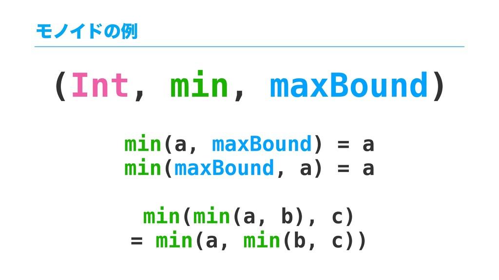 (Int, min, maxBound) min(a, maxBound) = a min(m...
