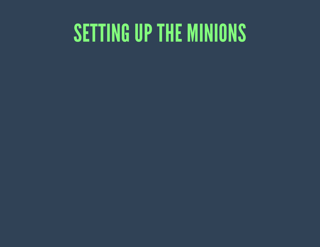 SETTING UP THE MINIONS