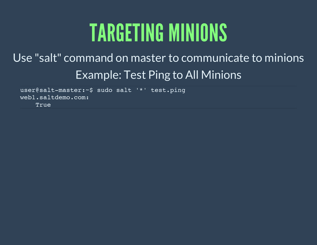 "TARGETING MINIONS Use ""salt"" command on master ..."