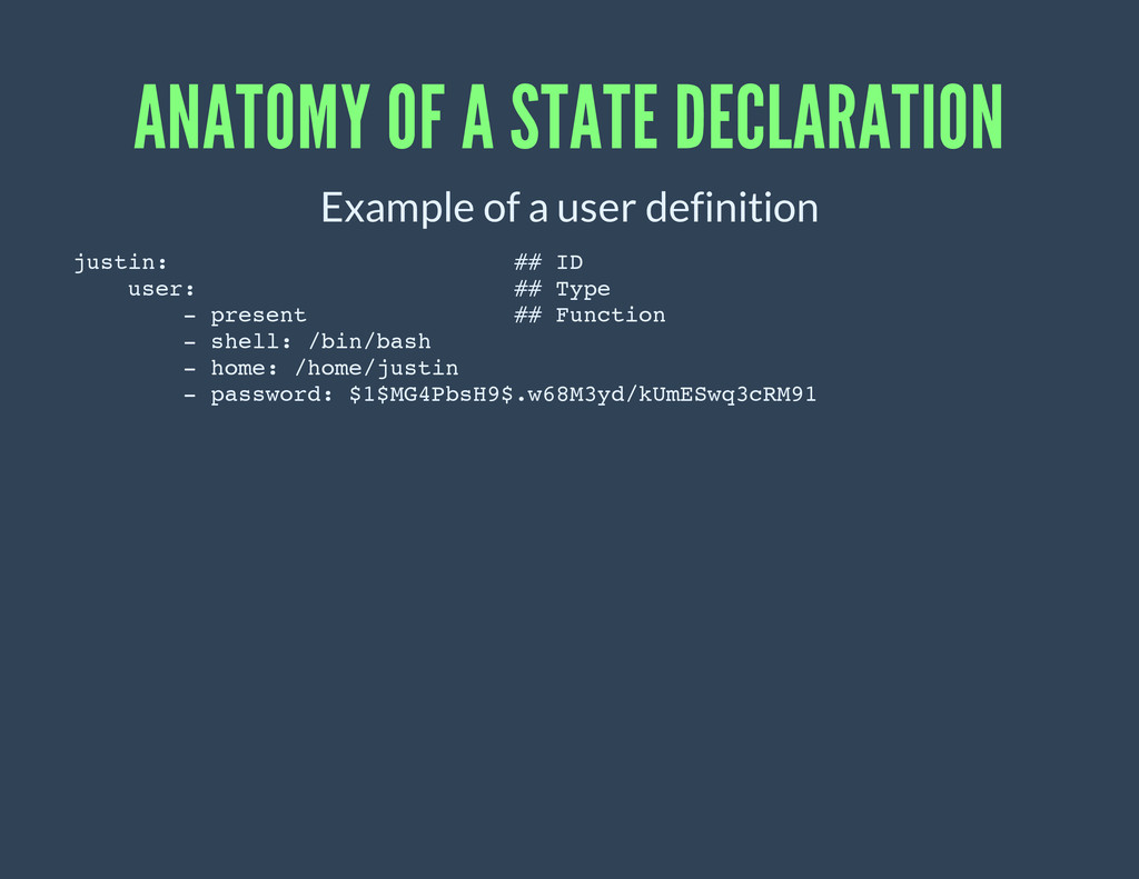 ANATOMY OF A STATE DECLARATION Example of a use...