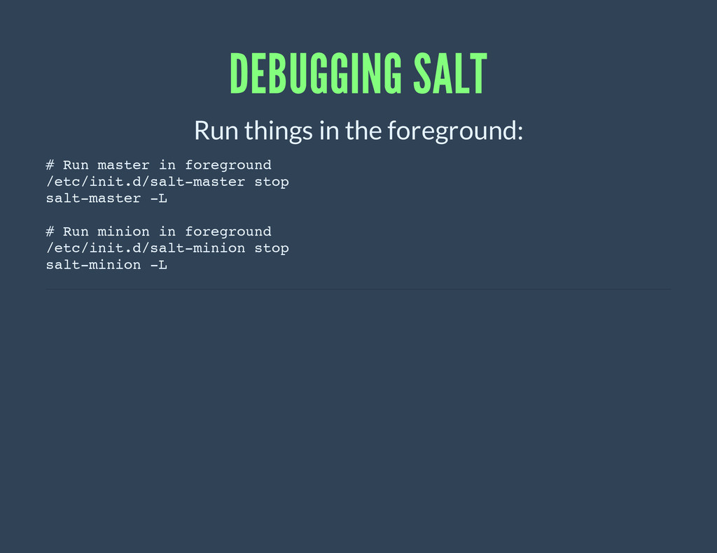 DEBUGGING SALT Run things in the foreground: # ...