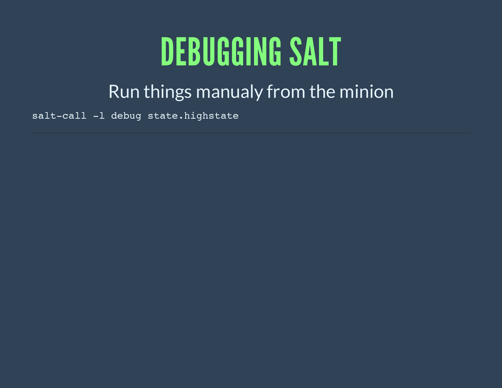 DEBUGGING SALT Run things manualy from the mini...