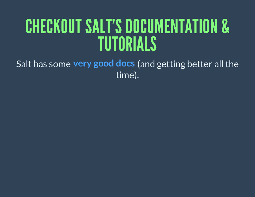 CHECKOUT SALT'S DOCUMENTATION & TUTORIALS Salt ...