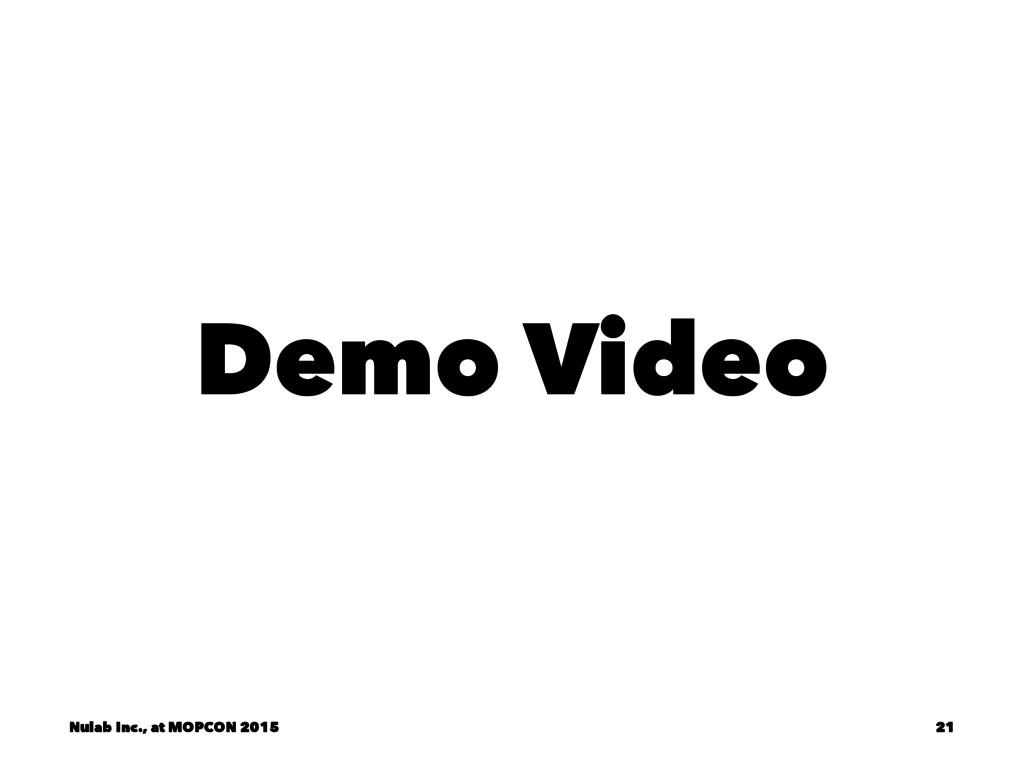 Demo Video Nulab Inc., at MOPCON 2015 21