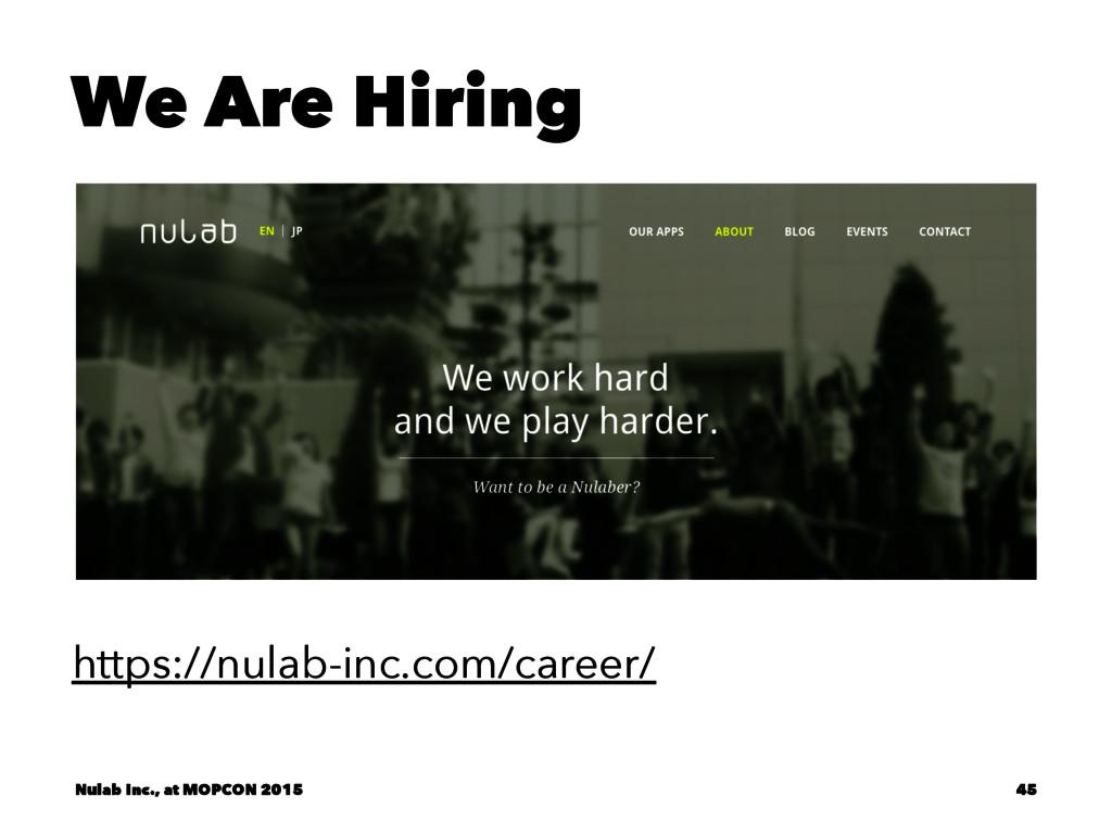 We Are Hiring https://nulab-inc.com/career/ Nul...