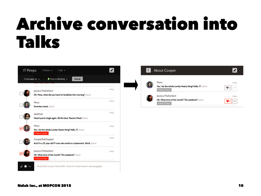 Archive conversation into Talks Nulab Inc., at ...