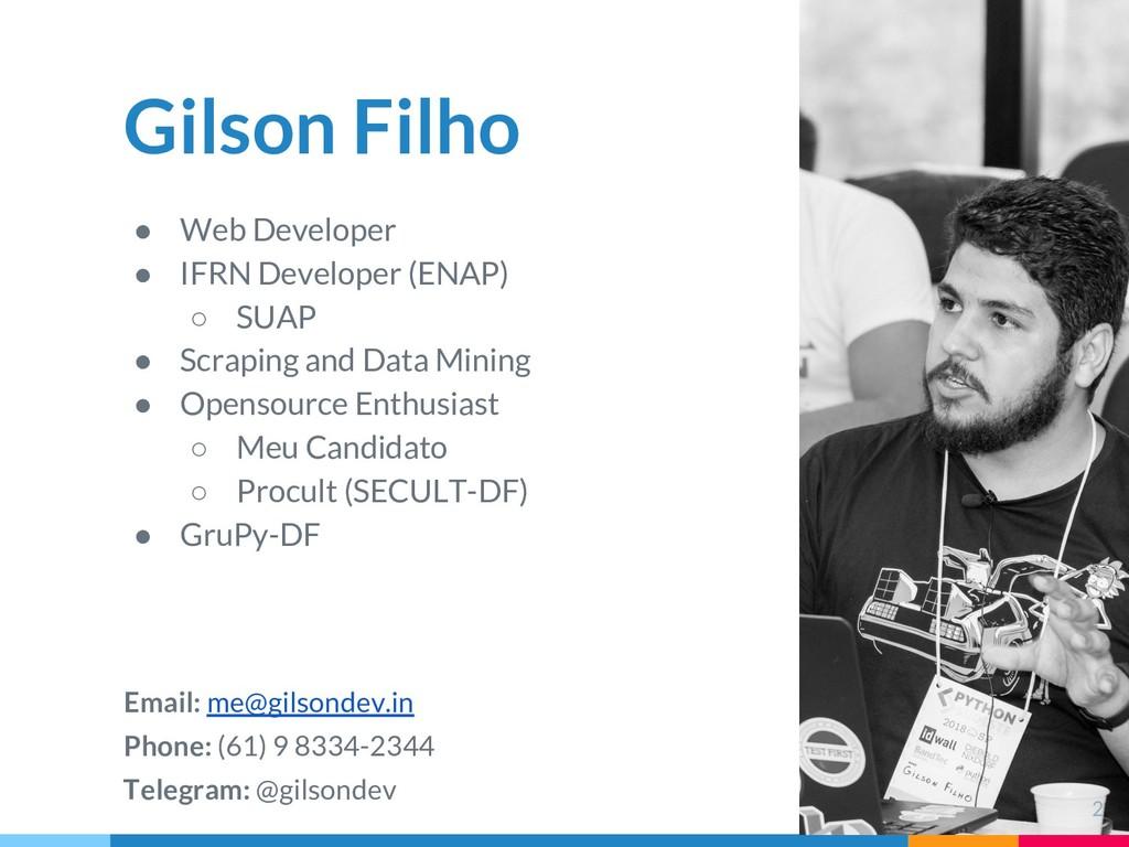 Gilson Filho ● Web Developer ● IFRN Developer (...