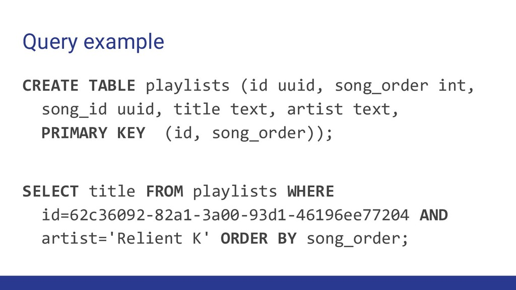Query example CREATE TABLE playlists (id uuid, ...